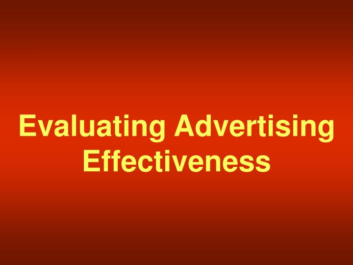 Evaluating Advertising Effectiveness