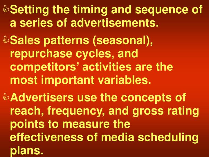 Setting the timing and sequence of a series of advertisements.