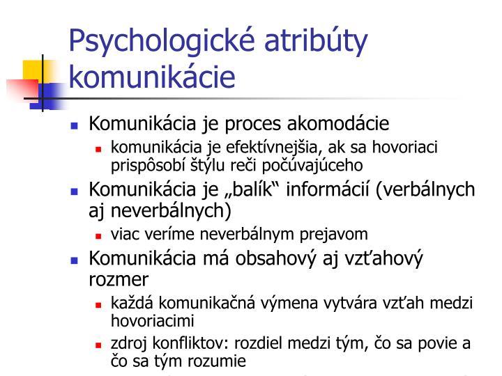 Psychologické atribúty komunikácie