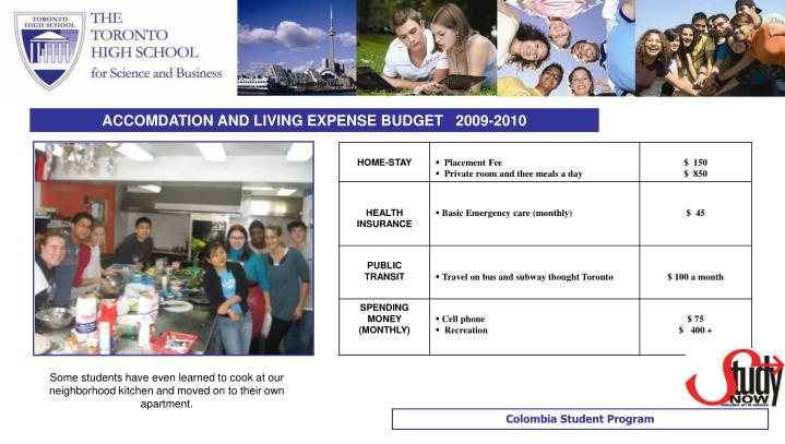 ACCOMDATION AND LIVING EXPENSE BUDGET   2009-2010