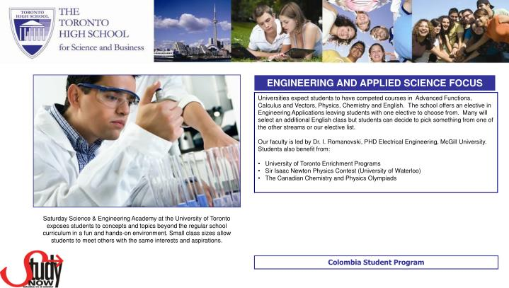 ENGINEERING AND APPLIED SCIENCE FOCUS