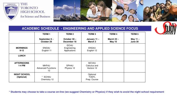 ACADEMIC SCHEDULE  - ENGINEERING AND APPLIED SCIENCE FOCUS