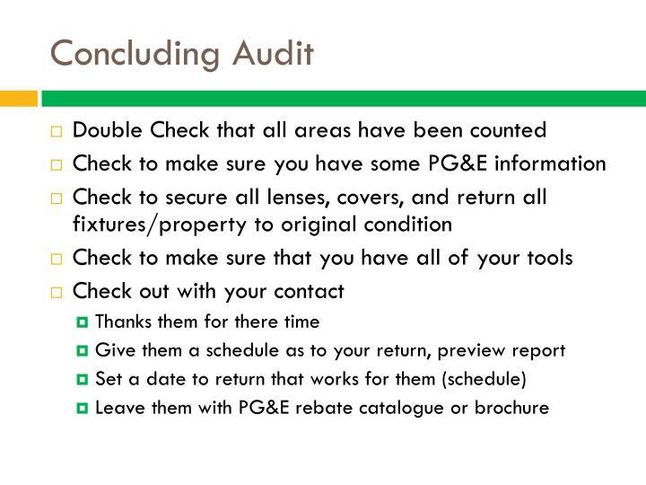 Concluding Audit