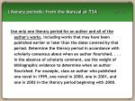 literary periods from the manual at t3a