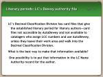 literary periods lc s dewey authority file
