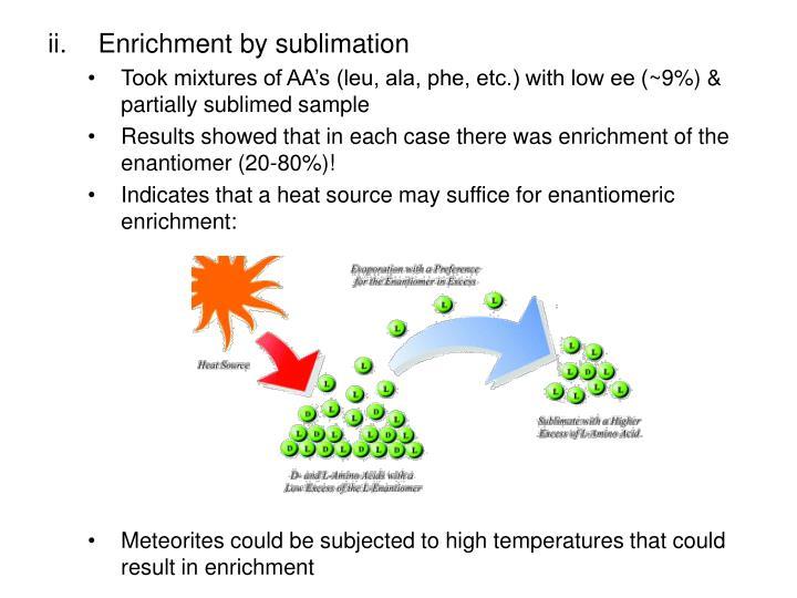 Enrichment by sublimation