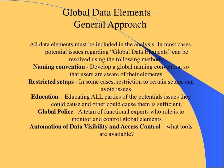 Global Data Elements –