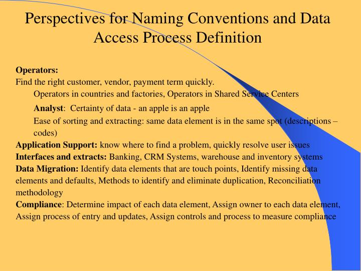 Perspectives for Naming Conventions and Data Access Process Definition