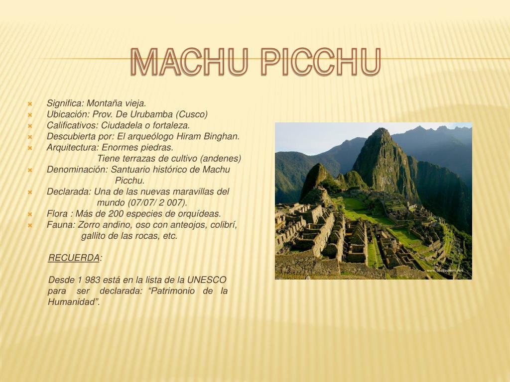 Ppt Machu Picchu Powerpoint Presentation Free Download Id 1730839
