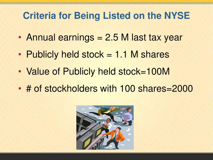 Criteria for Being Listed on the NYSE