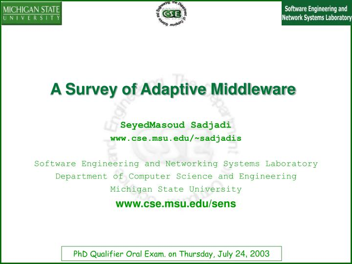 a survey of adaptive middleware n.