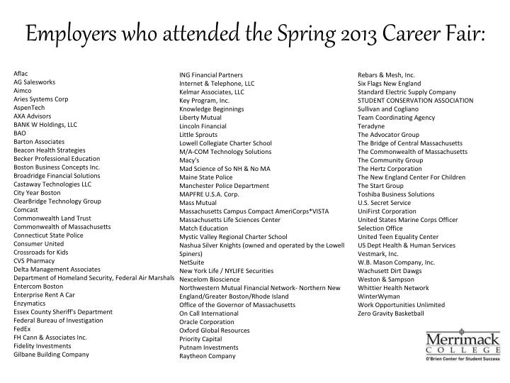 Employers who attended the spring 2013 career fair