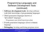 programming languages and software development tools continued