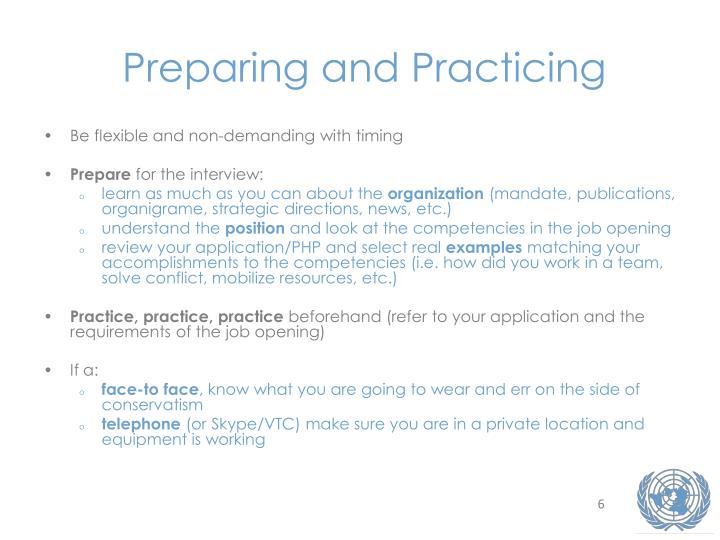 Preparing and Practicing