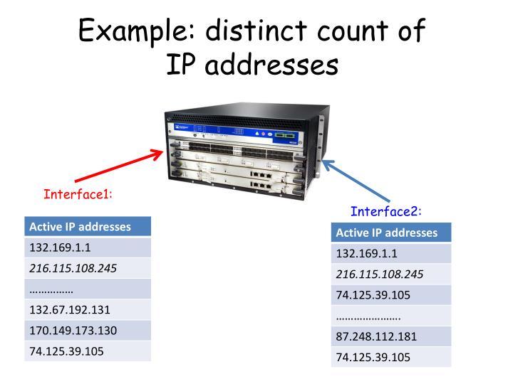 Example: distinct count of