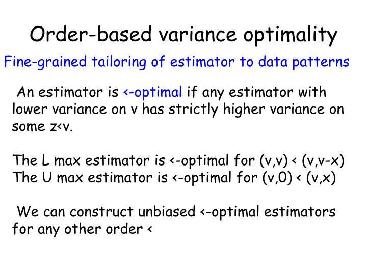 Order-based variance optimality