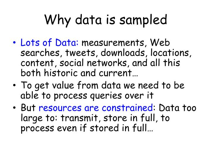 Why data is sampled
