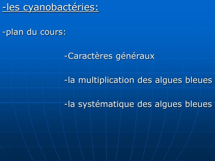 -les cyanobactéries: