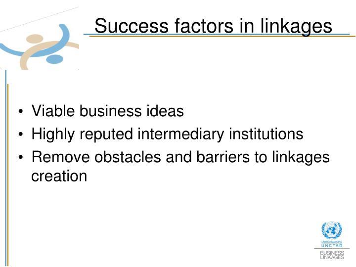 Success factors in linkages