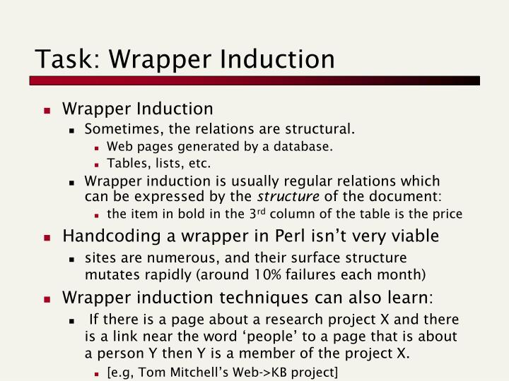 Task: Wrapper Induction
