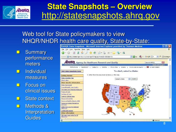 State Snapshots – Overview