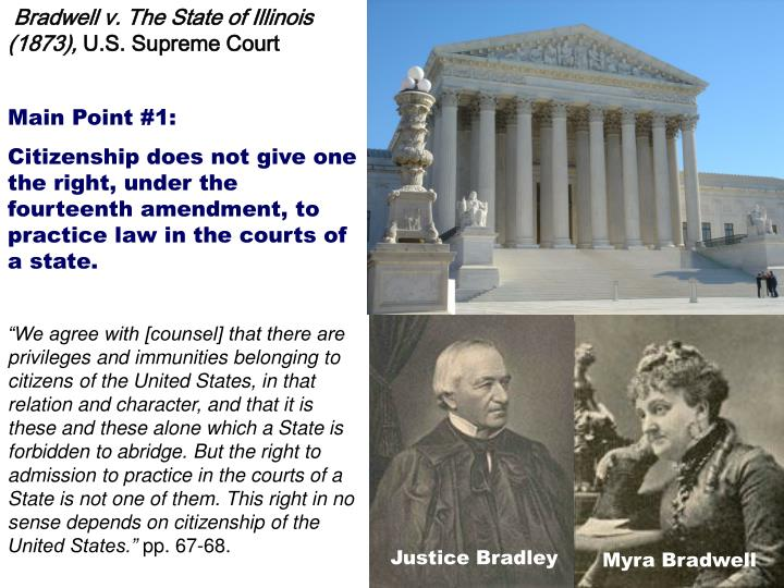 Bradwell v. The State of Illinois (1873),