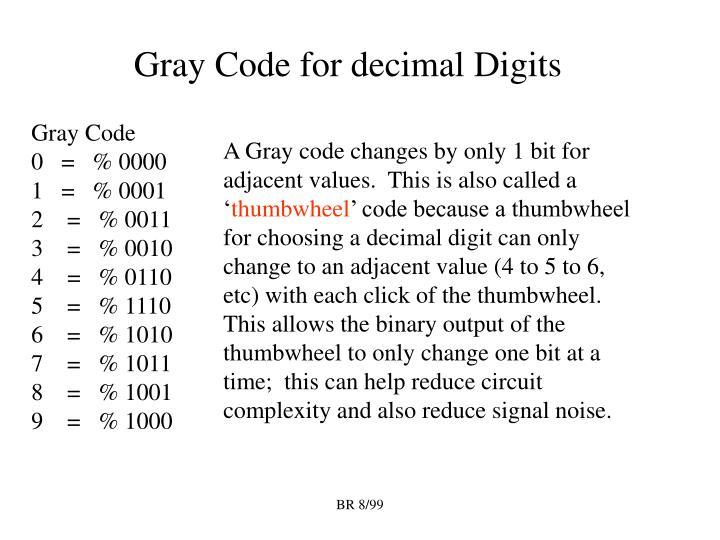Gray Code for decimal Digits