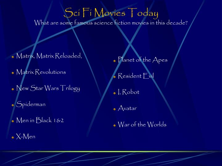 Sci Fi Movies Today