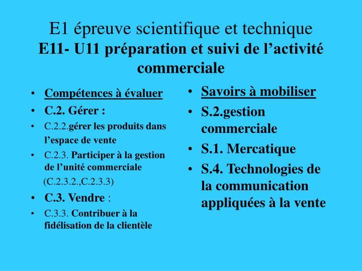 E1 preuve scientifique et technique e11 u11 pr paration et suivi de l activit commerciale