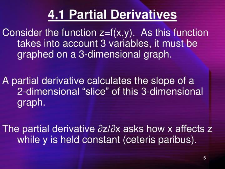 4.1 Partial Derivatives