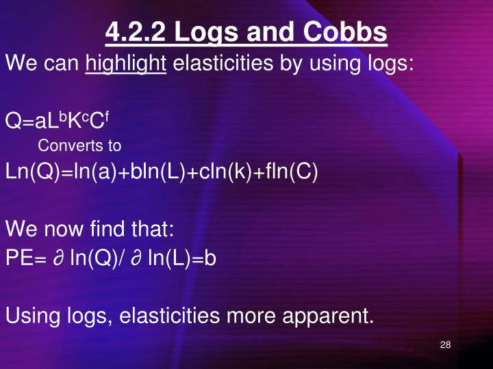 4.2.2 Logs and Cobbs