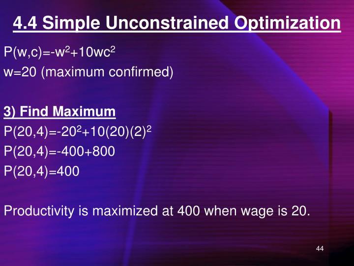 4.4 Simple Unconstrained Optimization