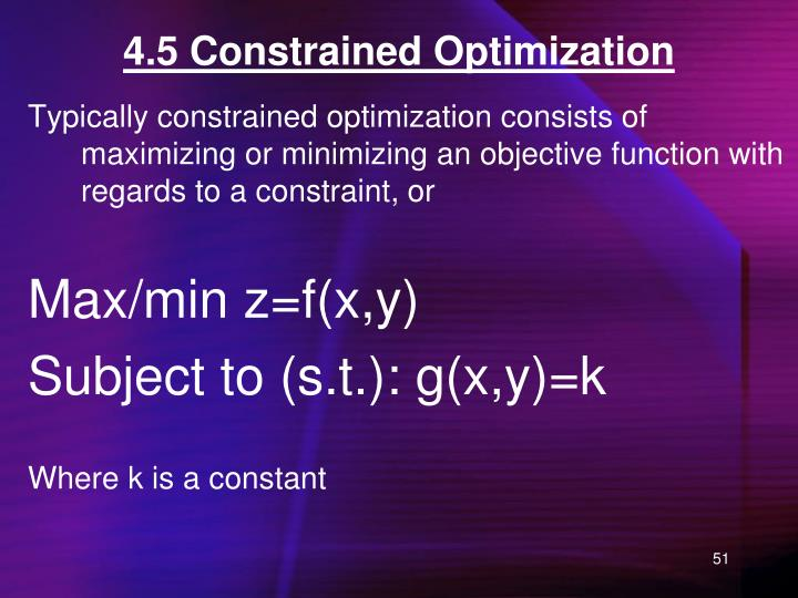 4.5 Constrained Optimization