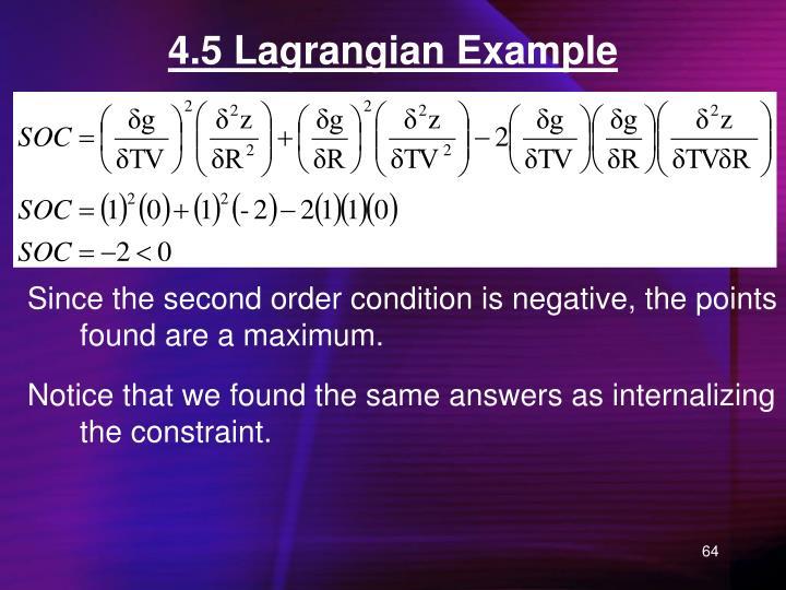 4.5 Lagrangian Example
