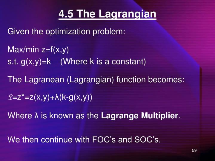 4.5 The Lagrangian