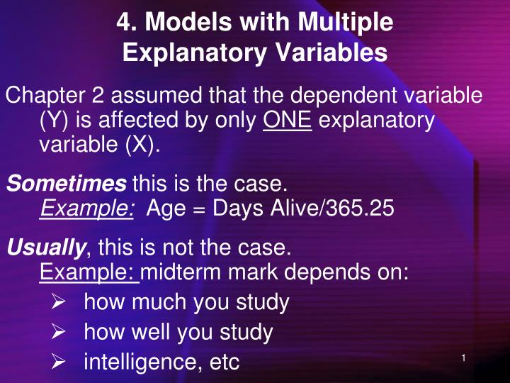 4 models with multiple explanatory variables