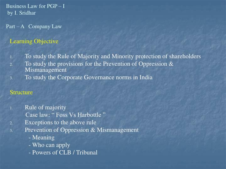 business law for pgp i by i sridhar part a company law n.