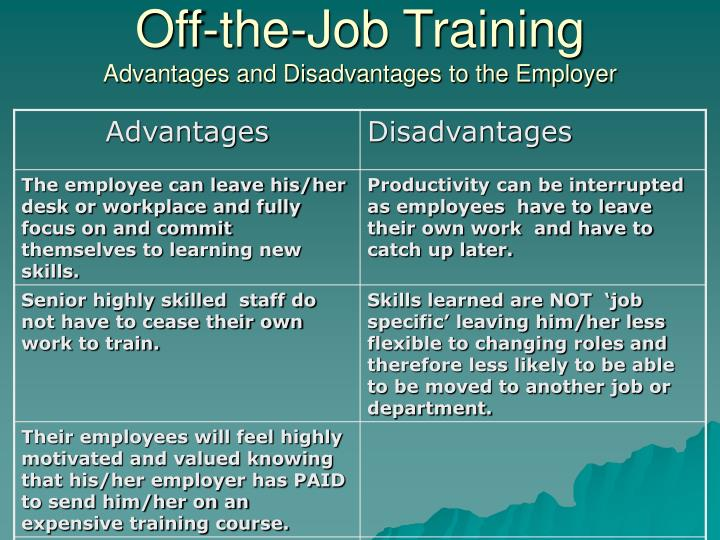 advantages of on the job training That makes part of any job related to  what are the advantages and disadvantages of working in the hotel industry as a  what are the advantages and.
