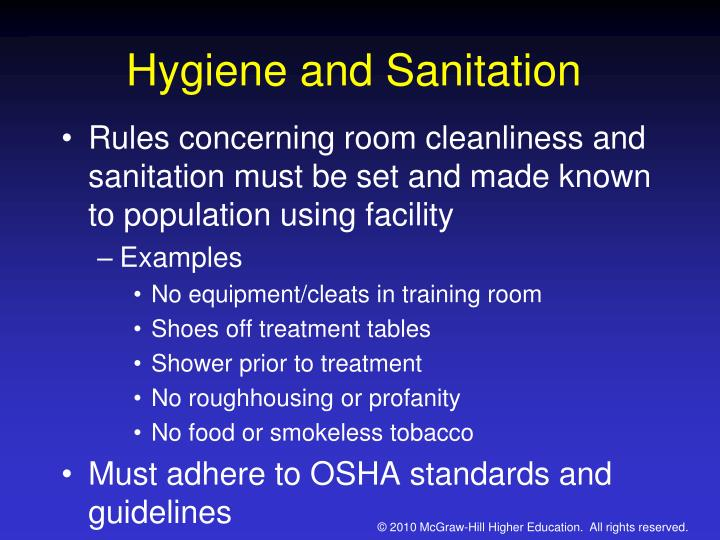 food sanitation chapter 2 Food safety and sanitation management involves a set of guidelines followed in commercial settings to ensure that prepared food is safe to eat proper hygiene, food storage, food preparation and sanitation are among the important principles that prevent foodborne illness.