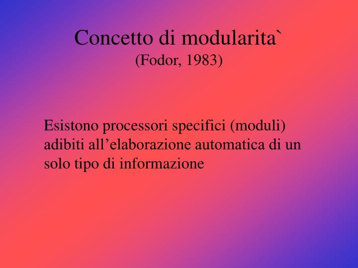 Concetto di modularita`