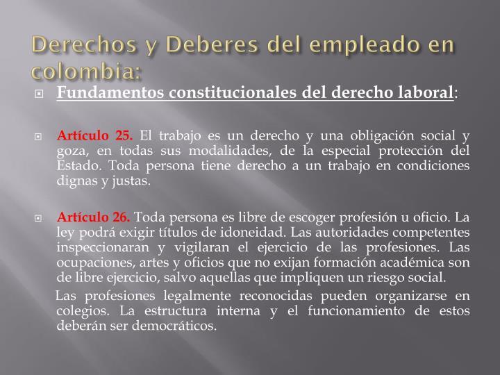 Derechos y Deberes del empleado en