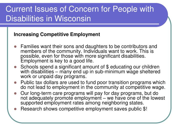 Current Issues of Concern for People with Disabilities in Wisconsin