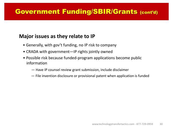 Government Funding/SBIR/Grants