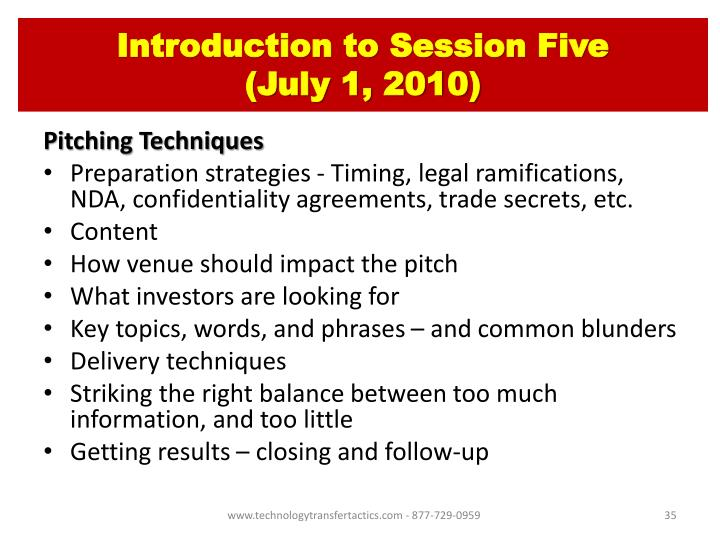 Introduction to Session Five