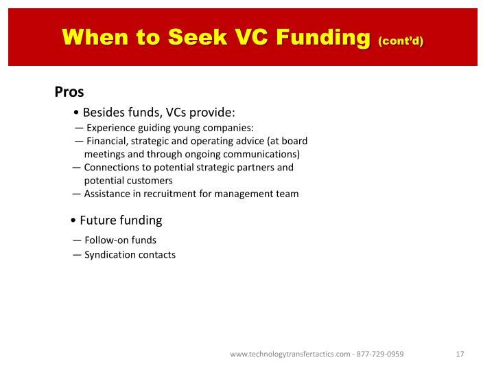 When to Seek VC Funding