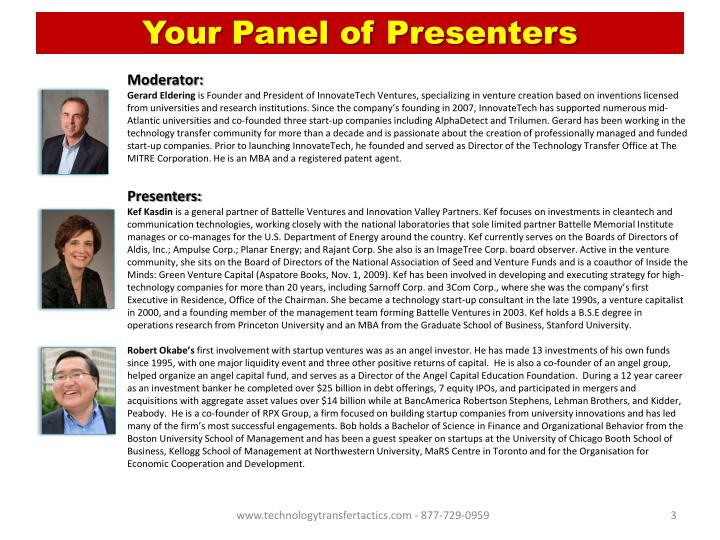 Your panel of presenters