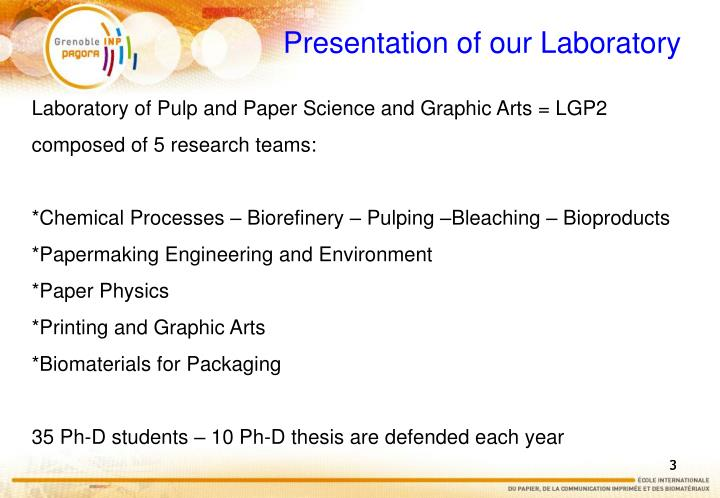 Presentation of our laboratory