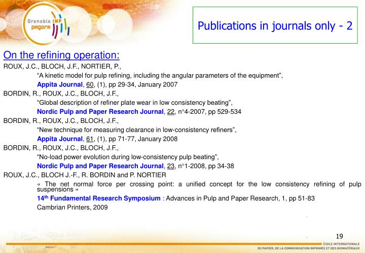 Publications in journals only - 2