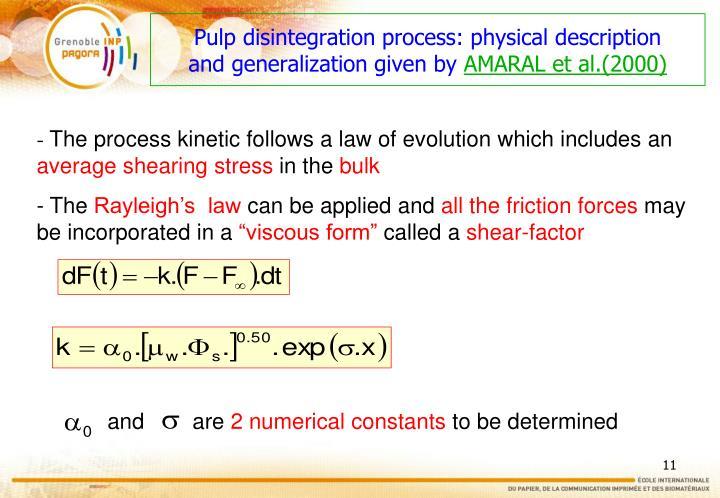 Pulp disintegration process: physical description