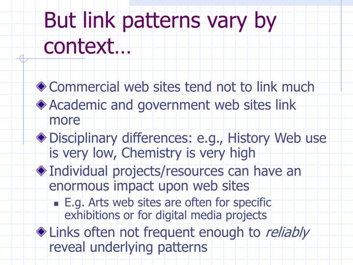 But link patterns vary by context…